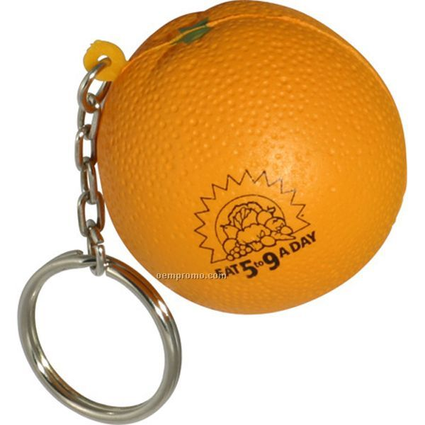 Orange Key Chain Squeeze Toy