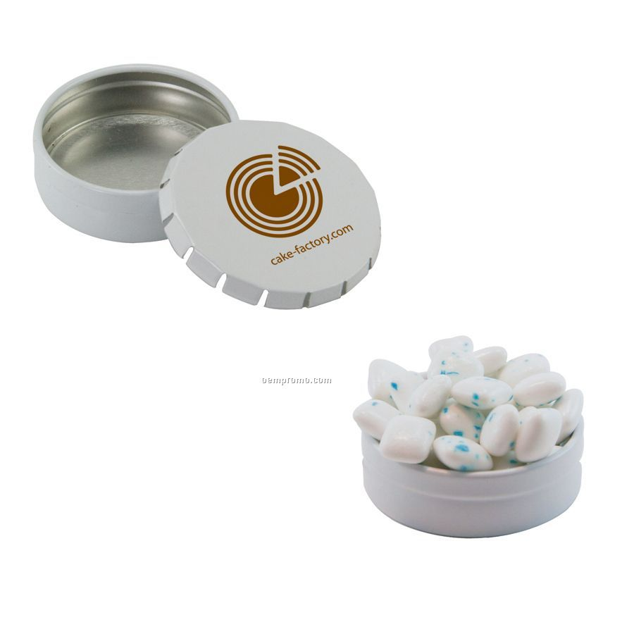 Small White Snap-top Mint Tin Filled With Sugar Free Gum