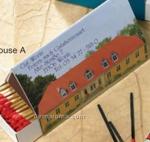 Special Shape House A Match Box W/ 140 Count Matches (112mm X47mm)
