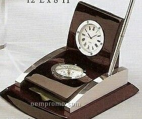 Wood Clock W/ Compass, Note Holder And Pen