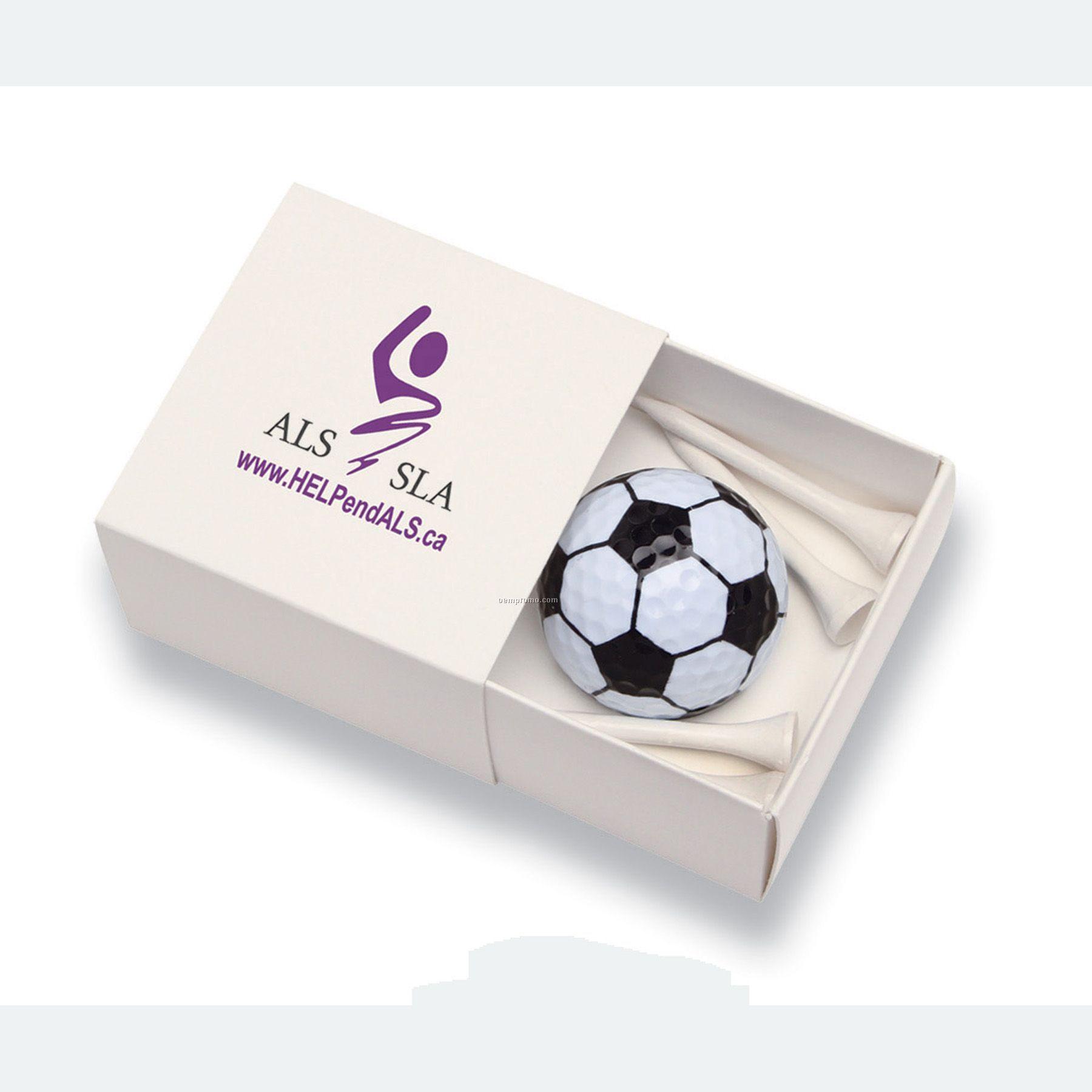 "Box W/Soccer Golf Ball And Four 2 1/8"" Tees"