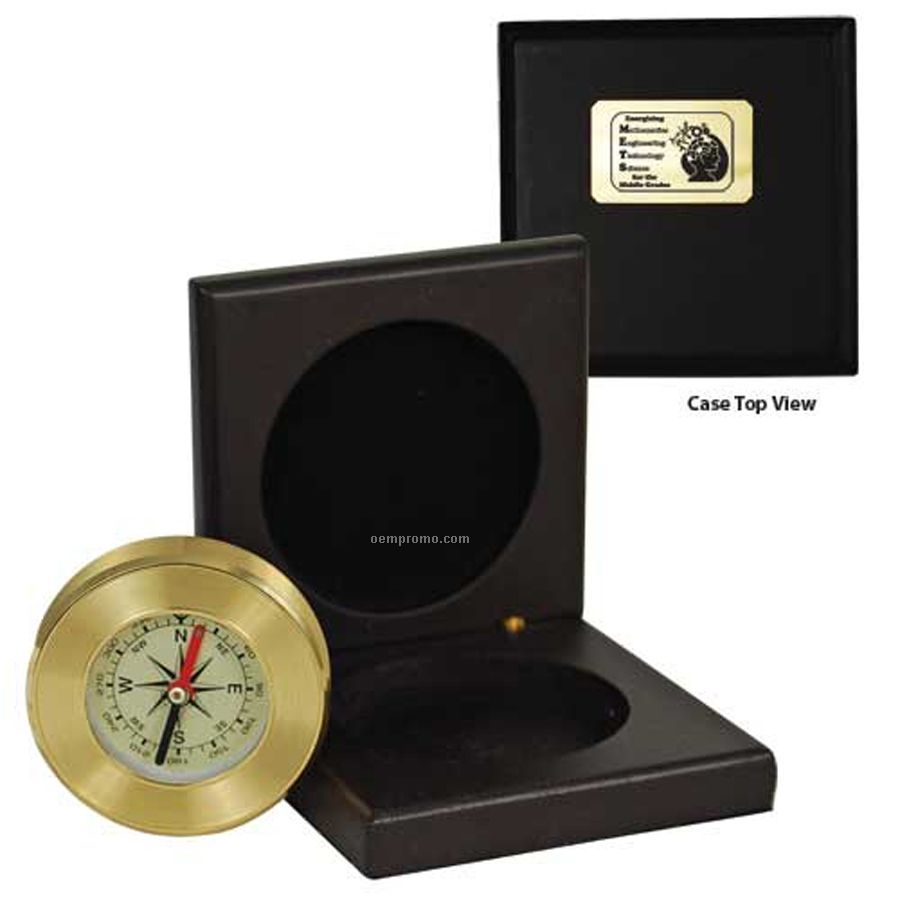 Desk Compass In Solid Wood Box