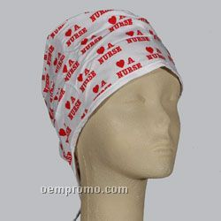 Tie-back Scrub Cap - White With Allover Imprint