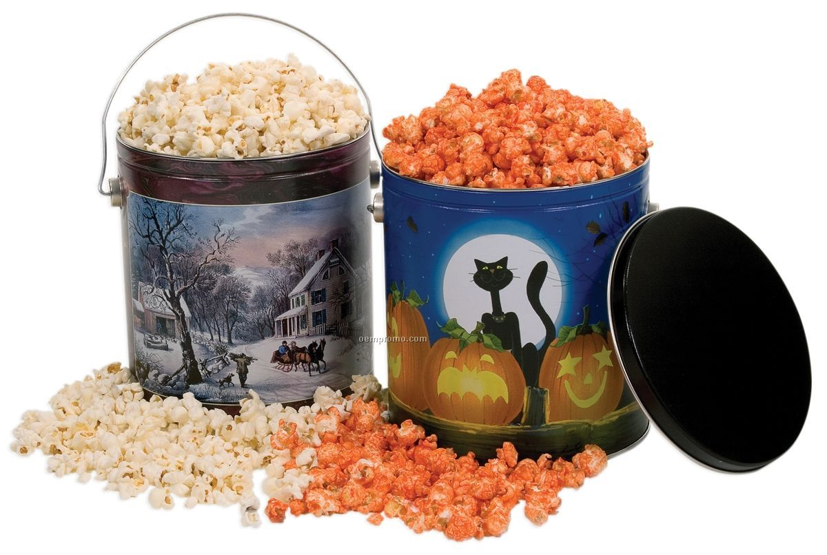 1 Gallon Designer Tin W/Caramel Flavored Popcorn