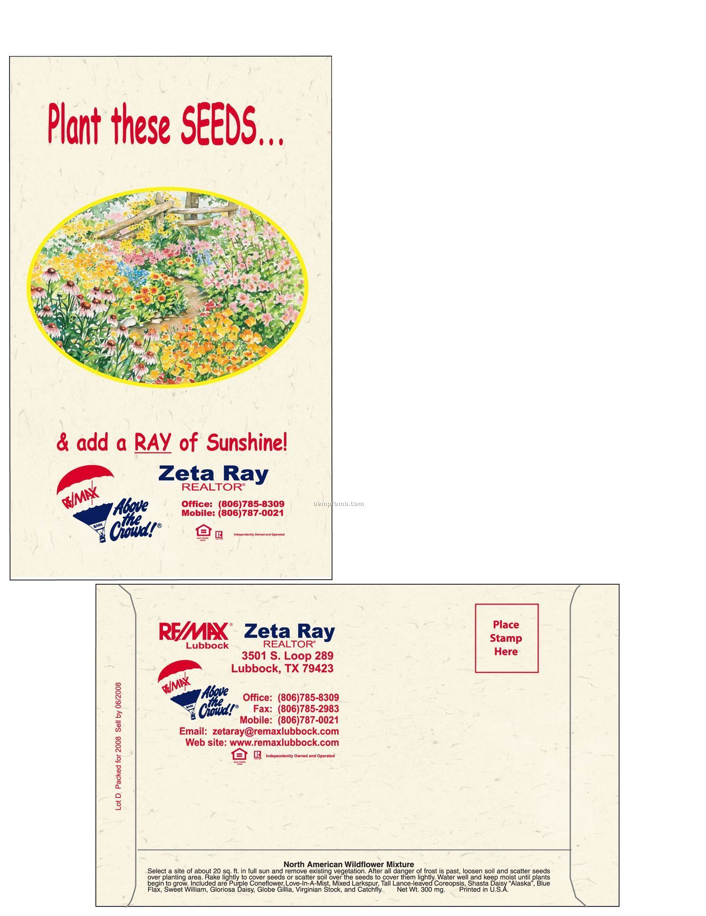 Wildflower 11 Variety Mixed Postcard Size Seed Packet (2 Color)