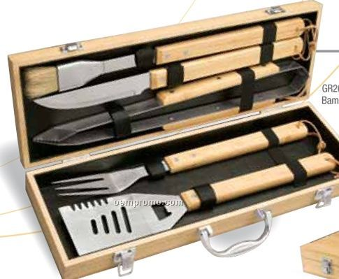 5 Piece Bamboo Bbq Set