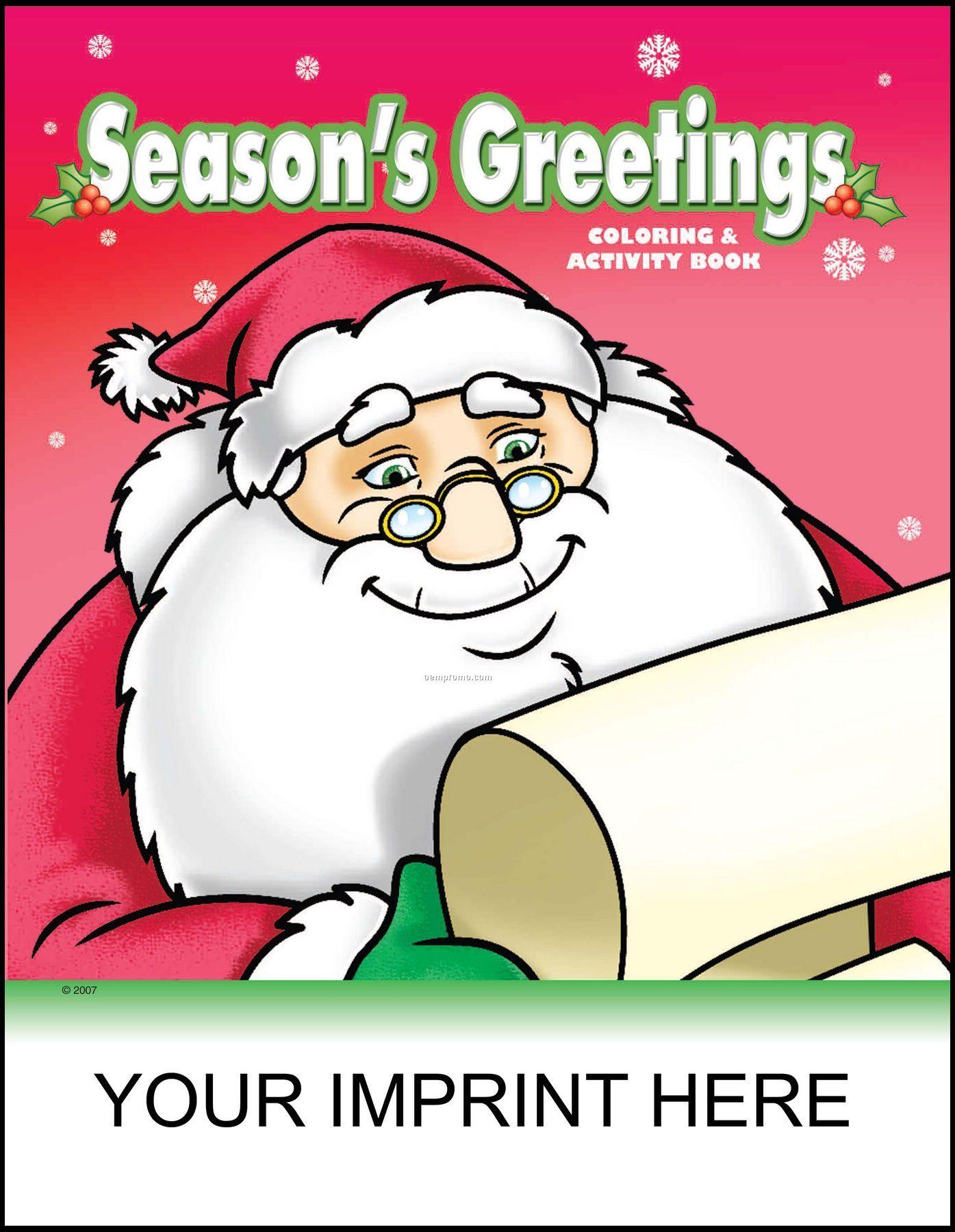 Season's Greetings Coloring & Activity Book - Santa Checking List