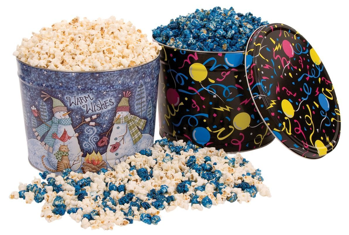 2 Gallon Designer Tin W/Butter Flavored Popcorn