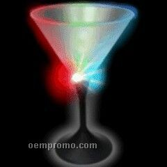 7 Oz. Light Up Martini Glass With Black Base