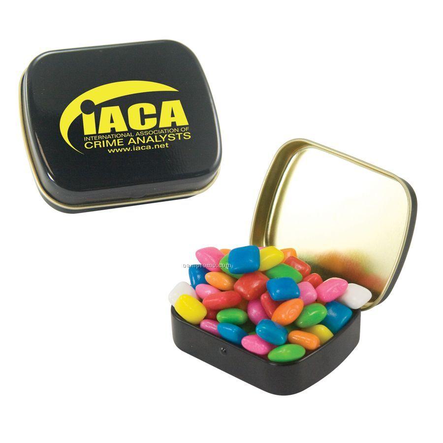 Small Black Mint Tin Filled With Gum