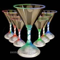 7 Oz. Spiral Stem Martini Light Up Glass With Assorted LED