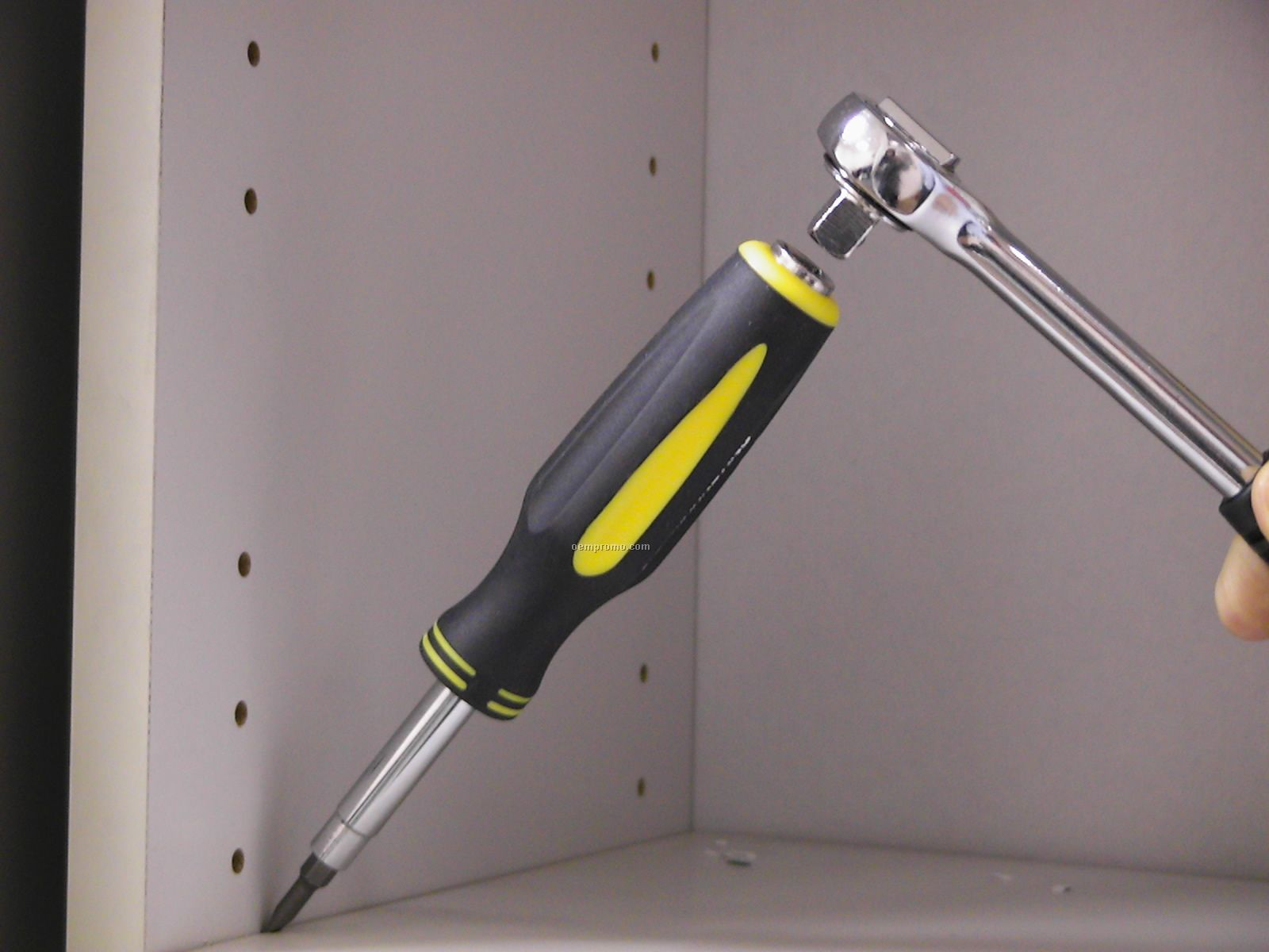 "7-in-1 Screwdriver With 3/8"" Socket In The Back & Rubber Grip Handles"