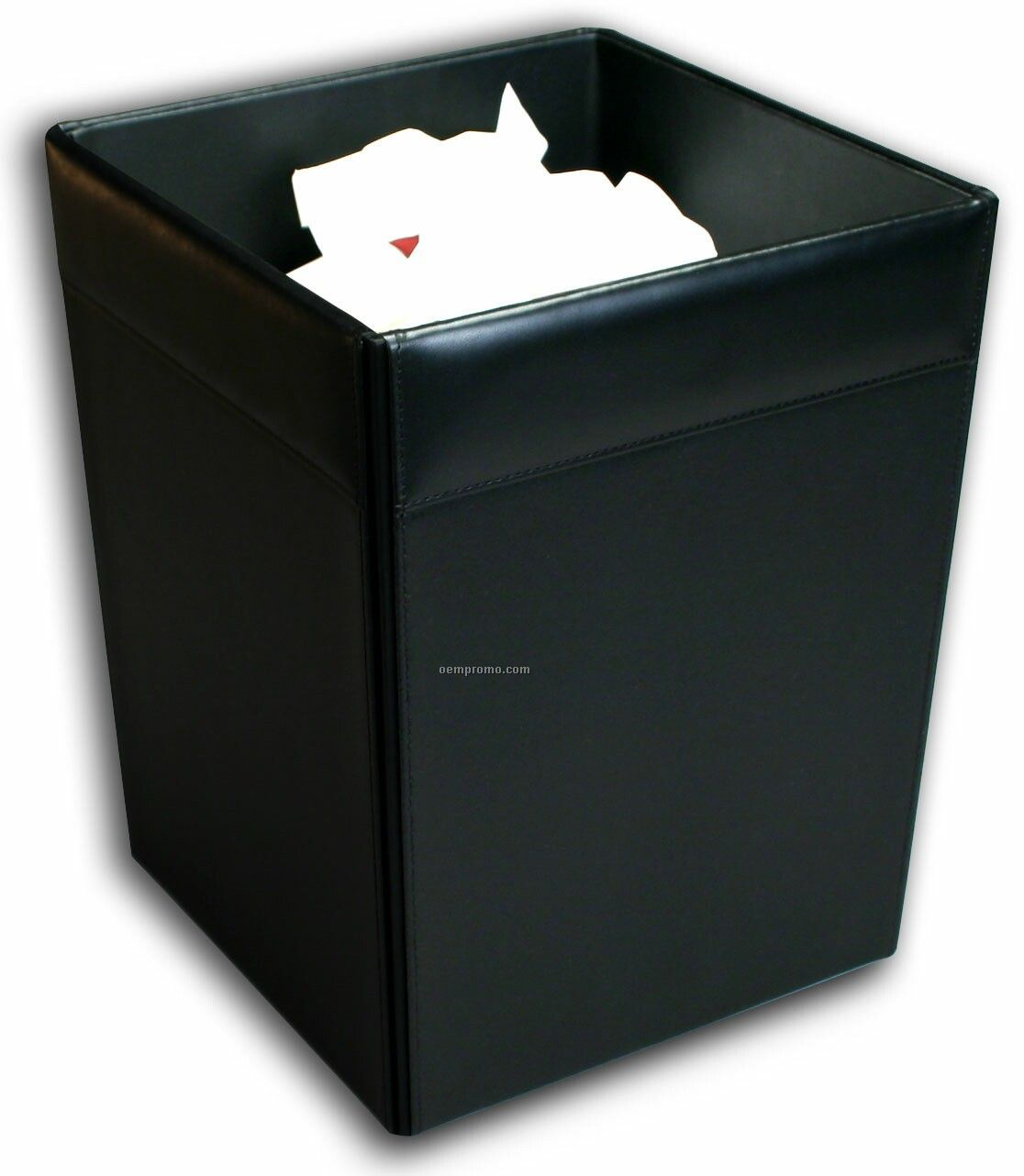 Black Classic Leather Square Waste Basket