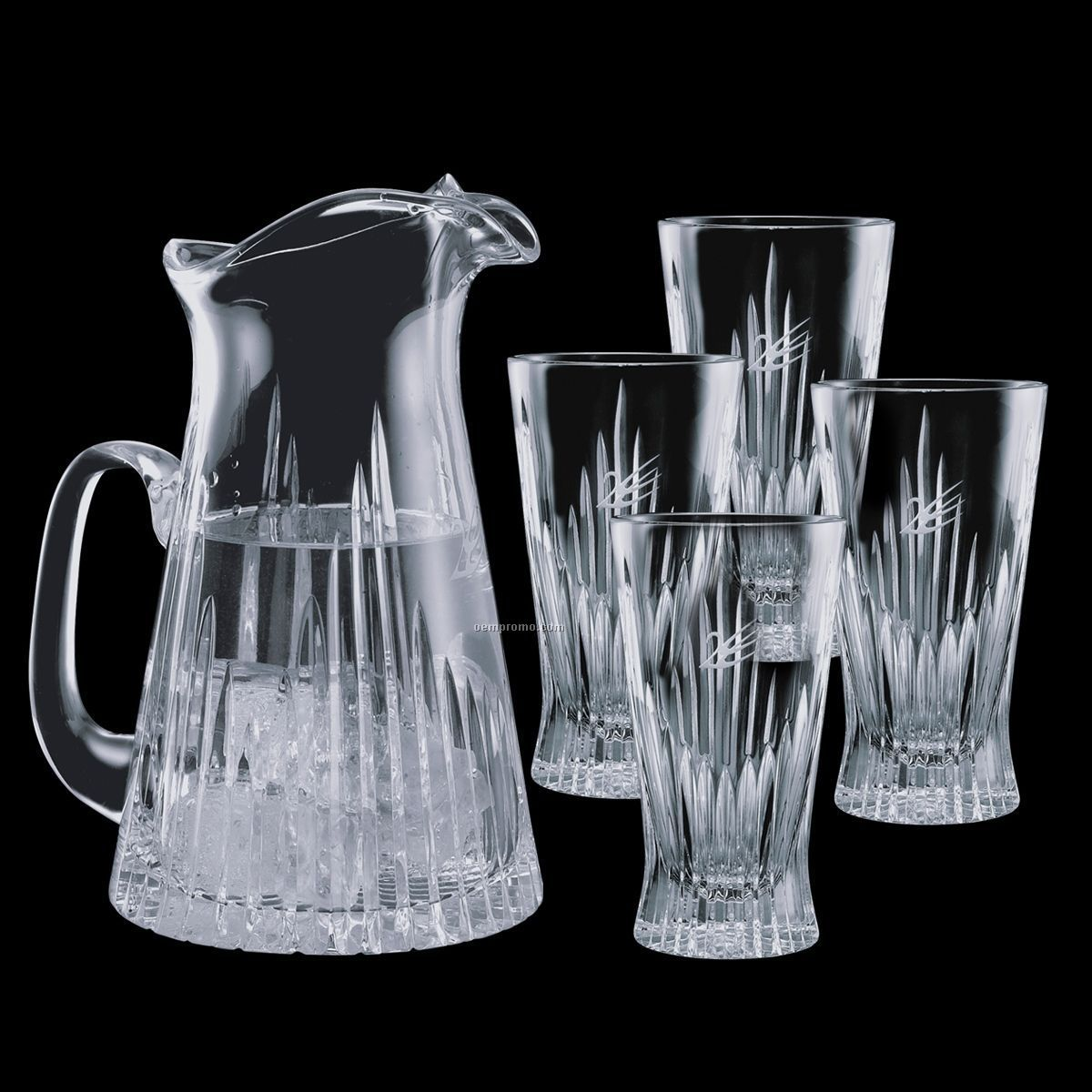 Cromwell Crystal Pitcher And 4 Cooler Glasses
