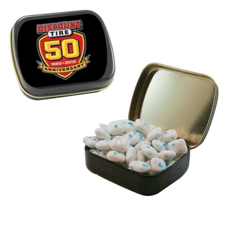 Small Black Mint Tin Filled With Sugar Free Gum