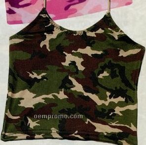 Women's Woodland Green Camouflage Tankini Swimsuit Top