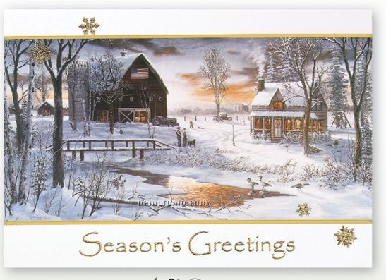 A Farm In Winter Holiday Card W/ Lined Envelope