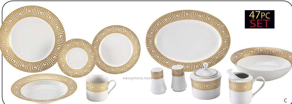 Nikita 47 PC Fine Porcelain China Set With Gold Tone Trim