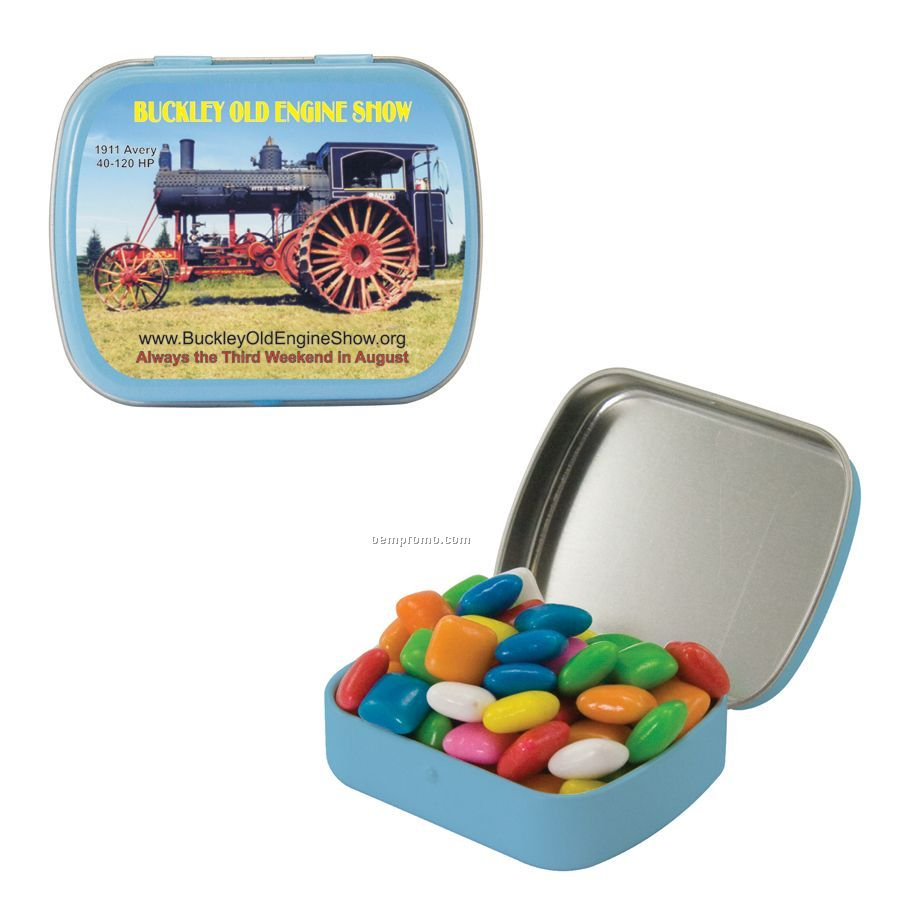 Small Light Blue Mint Tin Filled With Gum