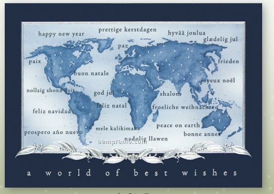 Across The World Holiday Card W/ Lined Envelope