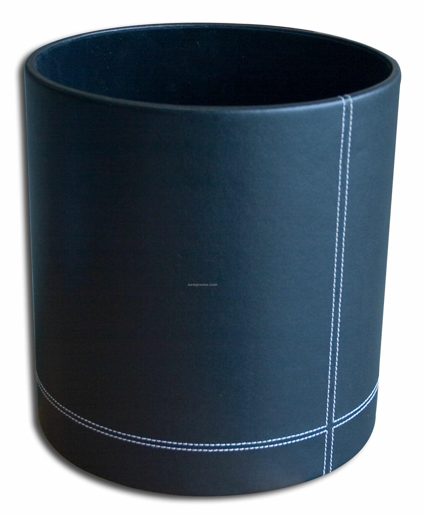 Black Eco-friendly Leather Round Waste Basket