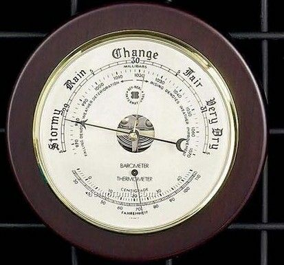 Brass Barometer & Thermometer On Cherry Wood Base