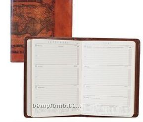 Brown Lizard Calfskin Leather Desk Size Telephone/ Address Book