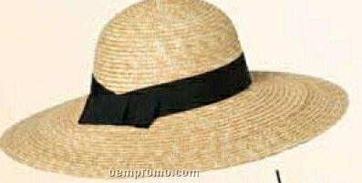 Ladies Natural Sewn Braid Straw Hat W/ Black Band