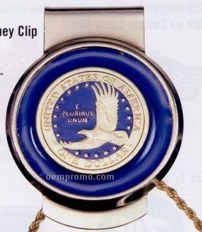 Money Clip With Genuine Golden Eagle Dollar Coin