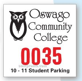 Numbered Square Vinyl Outside Parking Permit (3