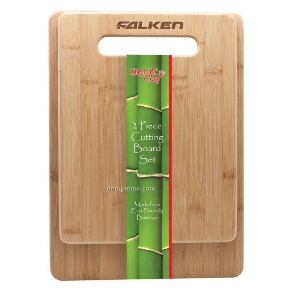 2 PC Bamboo Cutting Board Set