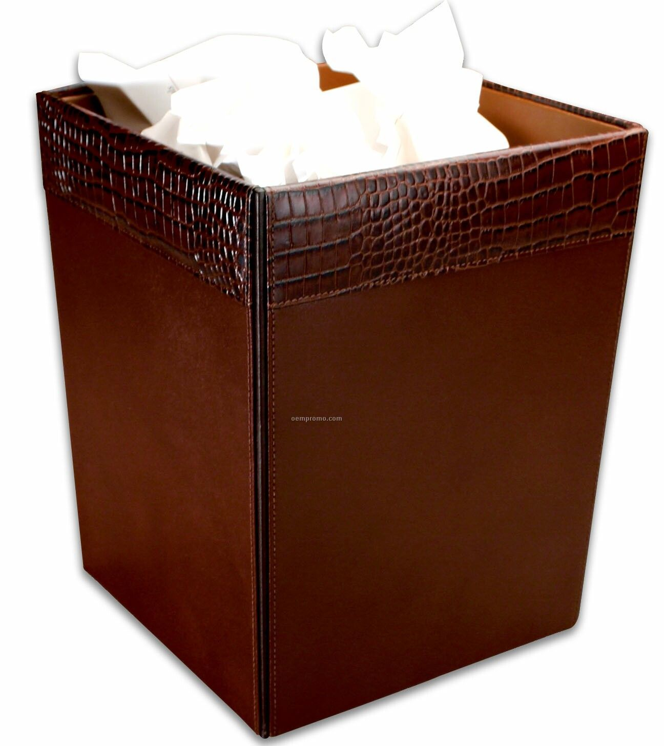 Brown Crocodile Embossed Leather Square Waste Basket