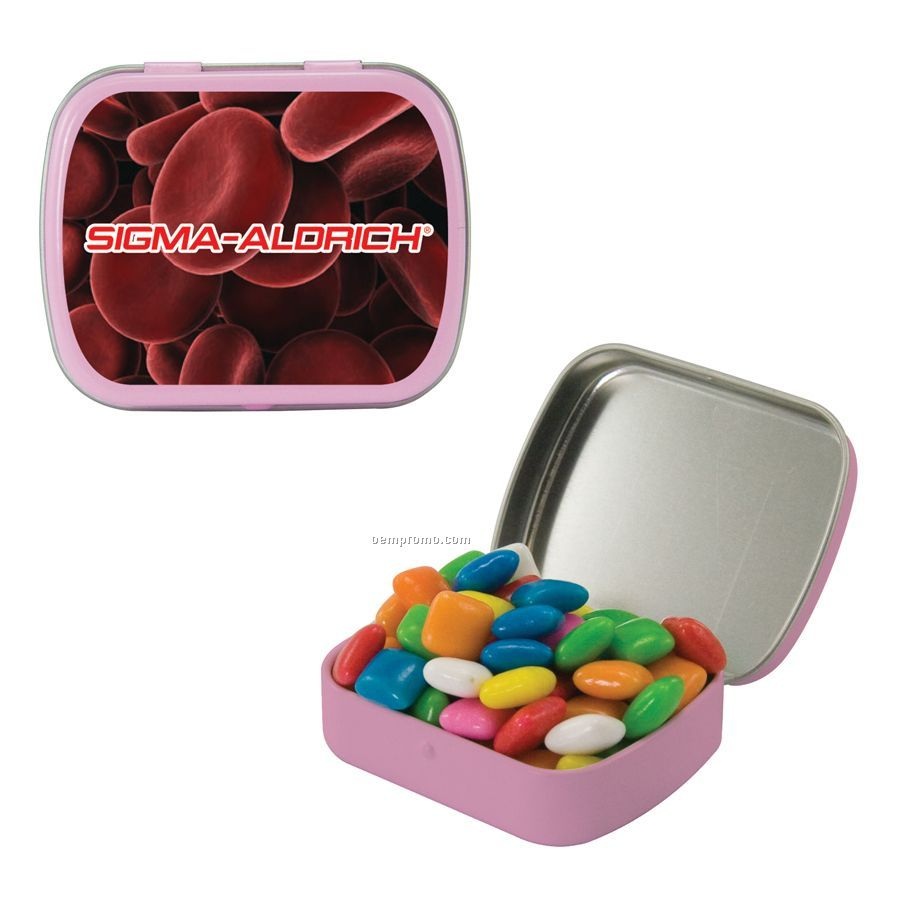 Small Pink Mint Tin Filled With Gum