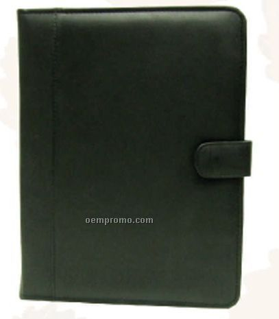 Black Cowhide Letter Size Folder W/ Pad