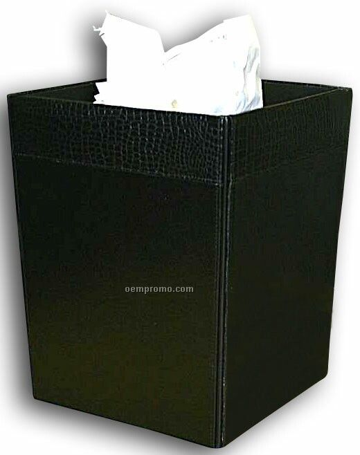 Black Crocodile Embossed Leather Square Waste Basket