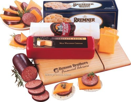 Just Great! Cheese, Sausage & Crackers Packaged On A Logoed Cheese Slicer