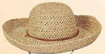 Ladies Natural Straw Hat W/ Roll Up Brim