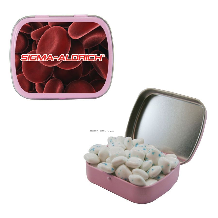 Small Pink Mint Tin Filled With Sugar Free Gum