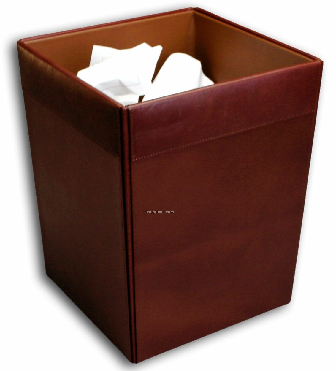 Mocha Classic Leather Square Waste Basket
