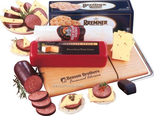 Non-perishable Cheese, Sausage & Crackers On A Logoed Cheese Slicer