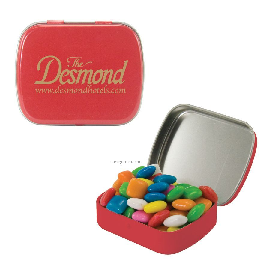 Small Red Mint Tin Filled With Gum