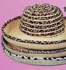 Ladies Wide Brim Big Cat Print Straw Hat