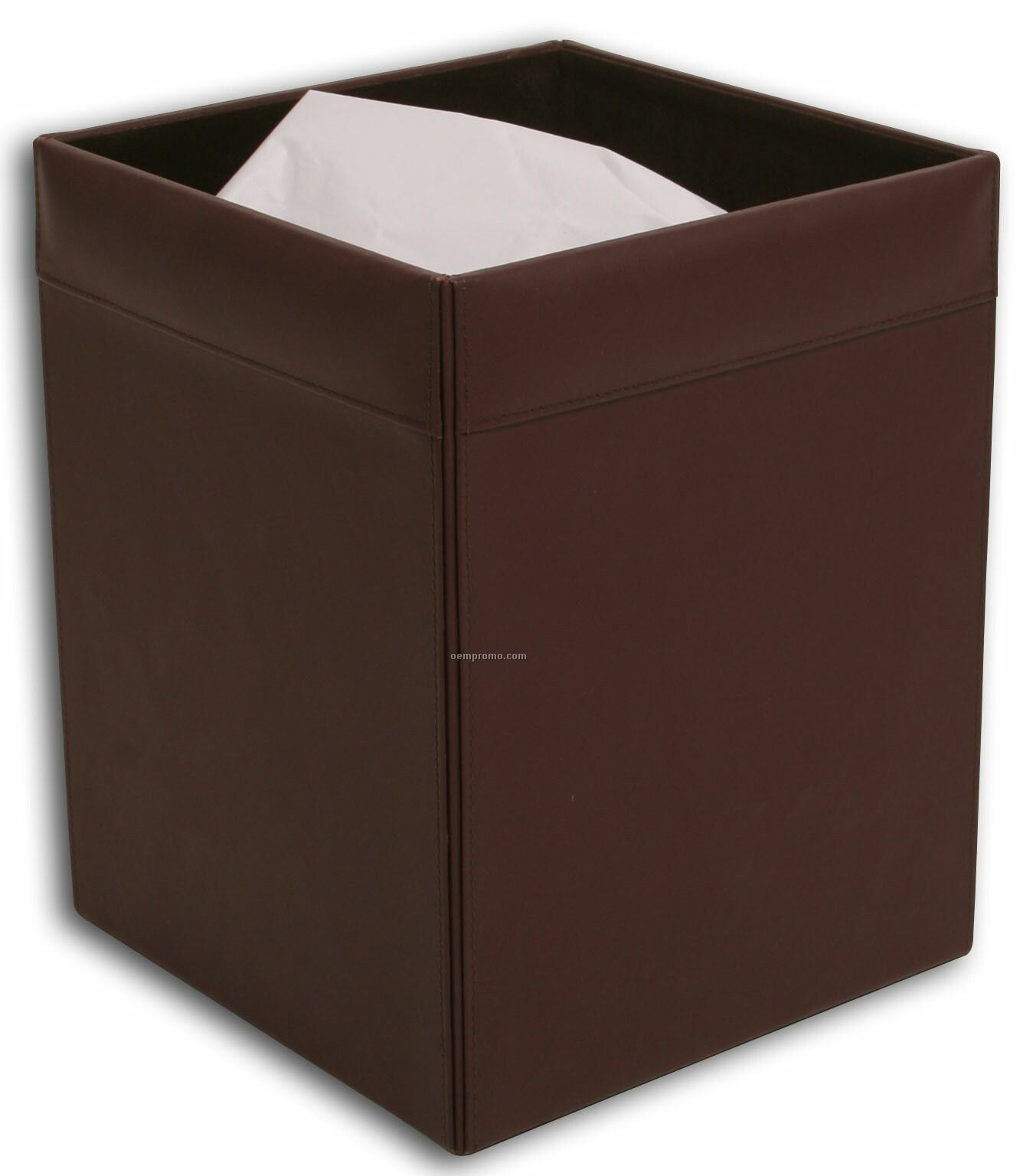 Chocolate Brown Classic Leather Square Waste Basket
