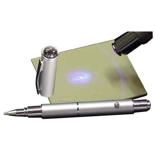 Invisible Ink Ballpoint Pen W/ Mini Compass On Cap