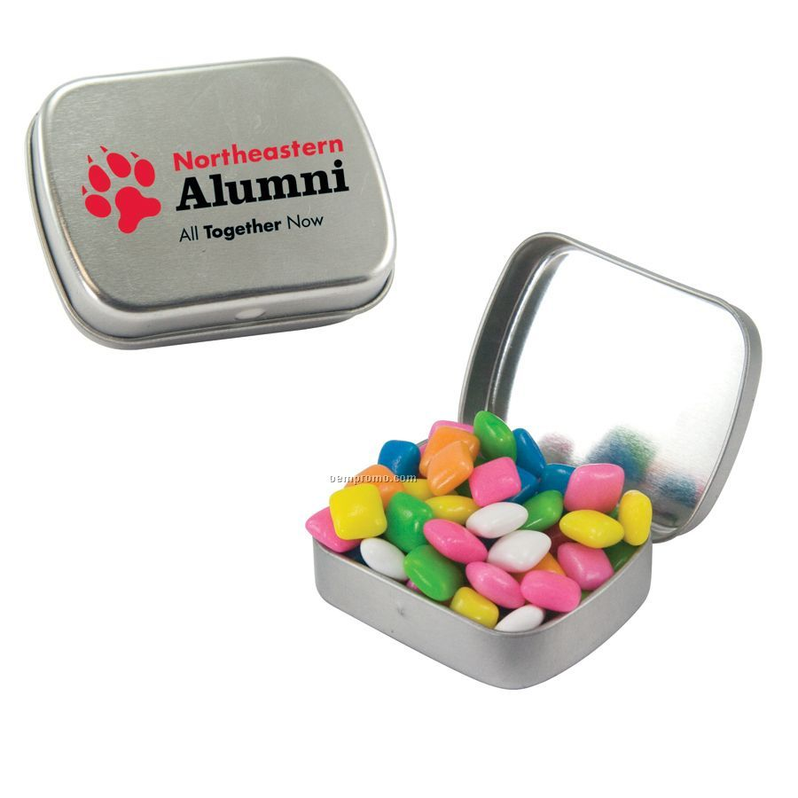 Small Silver Mint Tin Filled With Gum