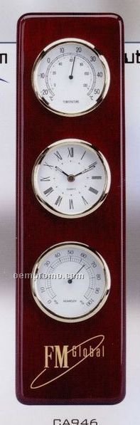 Wood Clock, Thermometer & Hygrometer