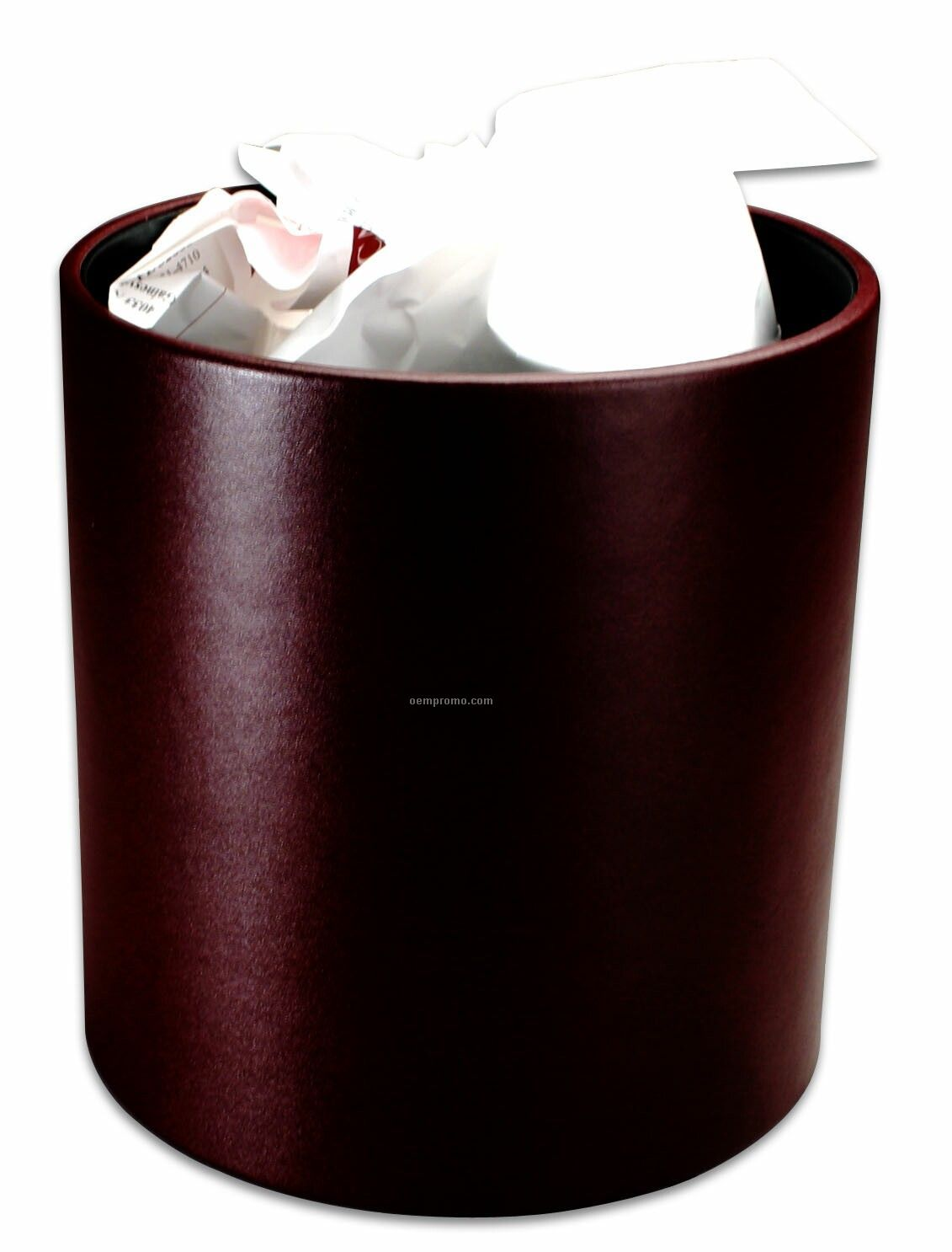 Burgundy Red Contemporary Leather Round Waste Basket