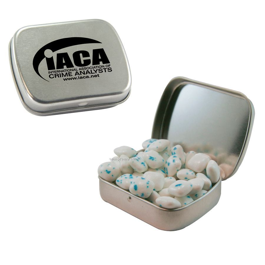 Small Silver Mint Tin Filled With Sugar Free Gum