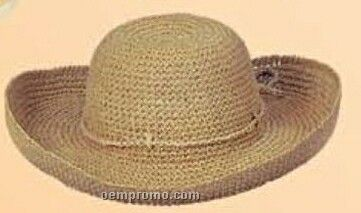 Ladies Straw Hat W/ Belted String Band