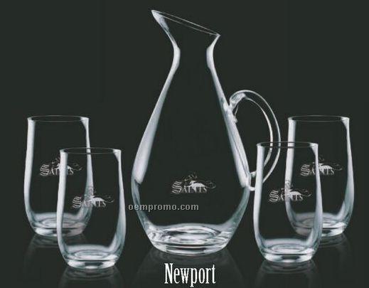 Newport Pitcher And 4 Hiball Glasses